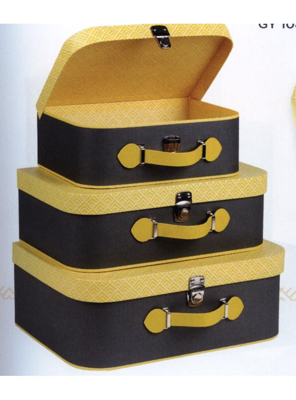 image: Valise d?cor gris et motifs jaunes