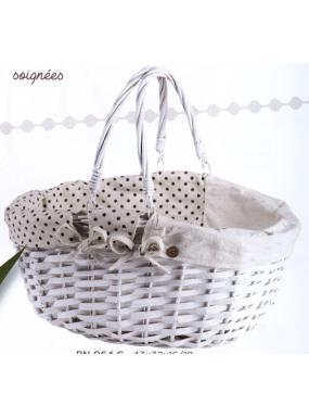 image: Panier ovale osier/bois blanc - tissu ?cru pois gris