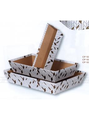 image: Corbeille rectangle kraft blanc/or